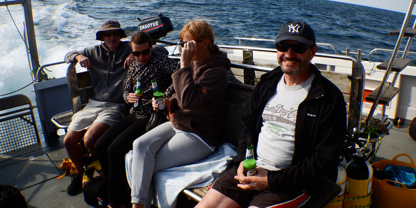 Easy Divers Group On Boat to Lundy